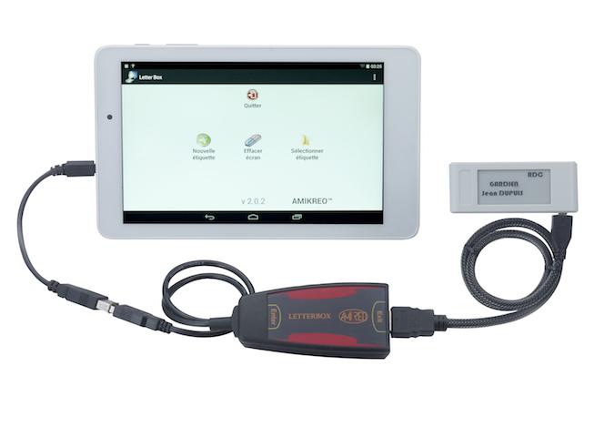 Kit Letterbox composé de l'étiquette électronique, la tablette et l'interface électronique